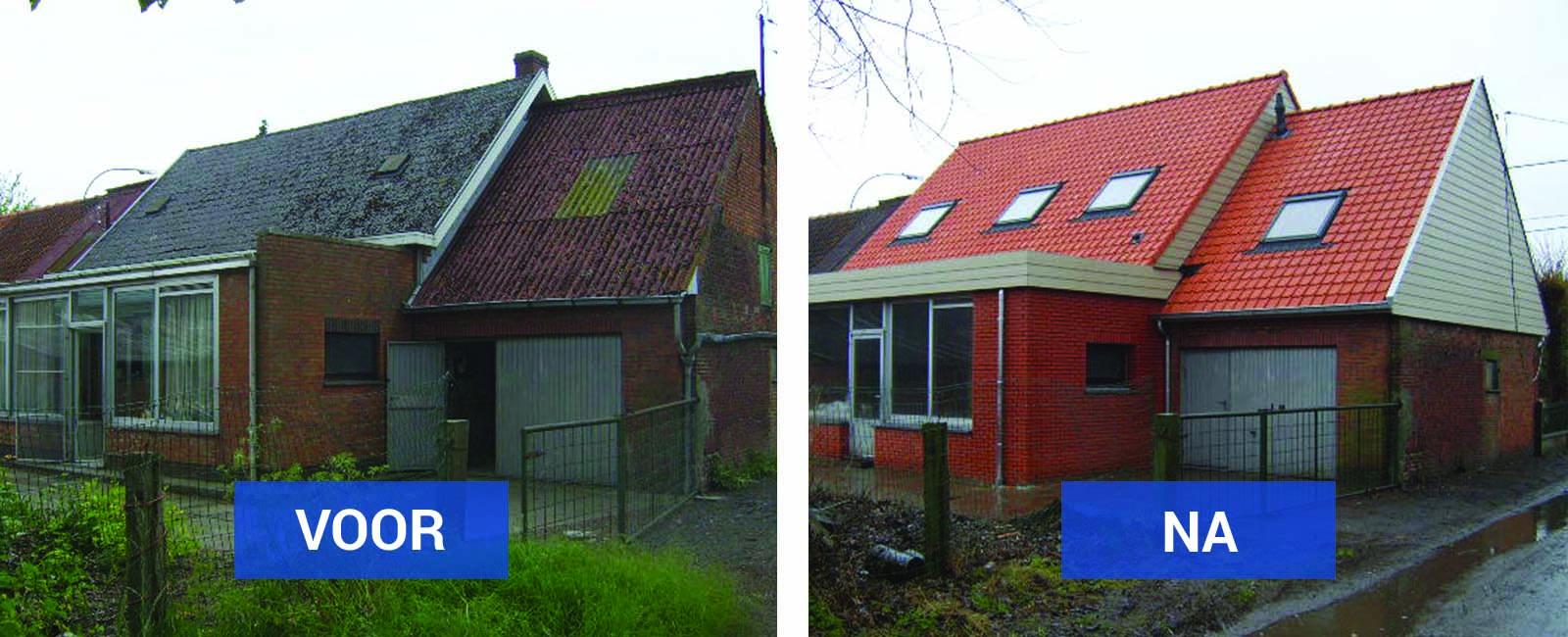 Hellende daken voor en na